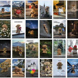Einmaliges Wochen Foto Kalender Buch Travelling Teddy 2021