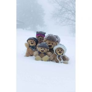 "Badetuch groß ""Travelling Teddy Familie im Schnee"" 90x140cm"